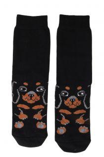PUPPY black cotton socks for dog lovers | BestSockDrawer.com