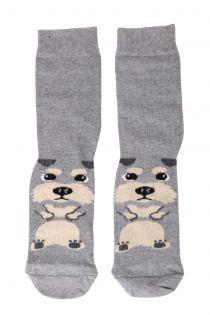 PUPPY grey cotton socks for dog lovers | BestSockDrawer.com