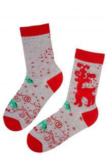 REINDEER grey cotton Christmas socks | BestSockDrawer.com