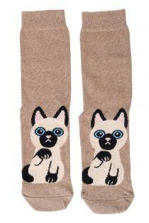 KITTY beige cotton socks for cat lovers | BestSockDrawer.com