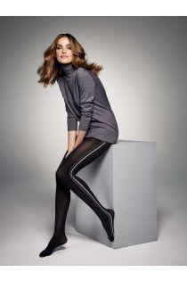 JESS 60 DEN black tights with grey stripes for women | BestSockDrawer.com