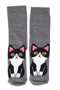 KITTY grey cotton socks for cat lovers | BestSockDrawer.com