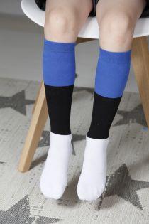 EESTI children's cotton knee-highs in the colours of the Estonian flag   BestSockDrawer.com