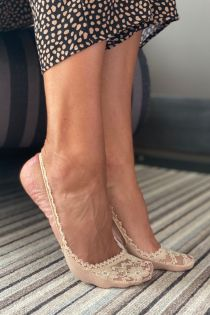 AIDA beige lace toe socks for women | BestSockDrawer.com