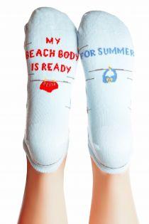 BEACH BODY light blue cotton socks for women | BestSockDrawer.com