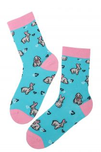 BUNNYLOVE cotton Easter socks with bunnies | BestSockDrawer.com