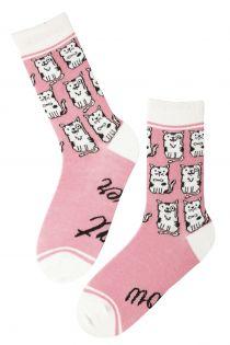 CAT LOVER women's pink socks | BestSockDrawer.com