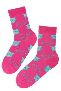 CATS neon pink cotton socks with cats | BestSockDrawer.com