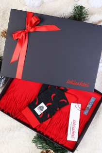 Alpaca wool gift box with a red scarf and PEPPER socks | BestSockDrawer.com