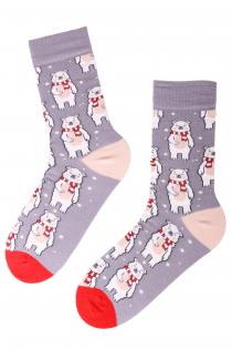 CHRISTMAS BEAR cotton socks with bears | BestSockDrawer.com