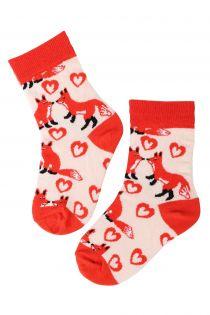 FOXY LOVE orange cotton socks for kids | BestSockDrawer.com