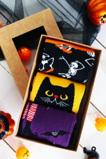 Halloween gift box  EVIL CAT with 3 pairs | BestSockDrawer.com