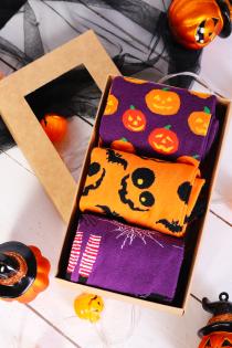 Halloweeni kinkekarp PUMPKIN FACE 3 sokipaariga | BestSockDrawer.com