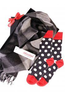 Alpaca wool scarf and MERINO DOTS socks gift box for men and women   BestSockDrawer.com