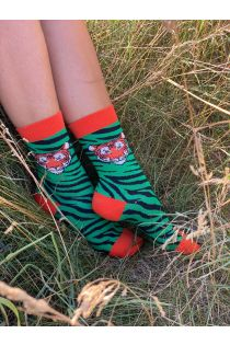 TIGER green socks with a tiger face | BestSockDrawer.com