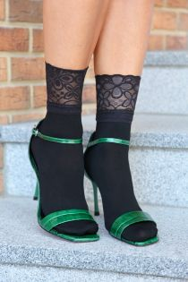 ANITA black socks with a lace cuff | BestSockDrawer.com