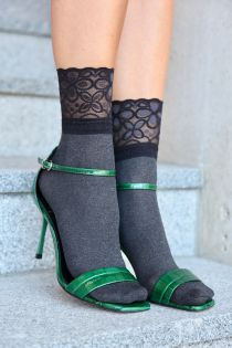 ANITA grey socks with a lace cuff | BestSockDrawer.com