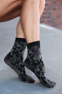 DAISY socks with beige flowers | BestSockDrawer.com