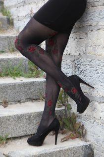 SILENA 60DEN black tights with rose pattern | BestSockDrawer.com