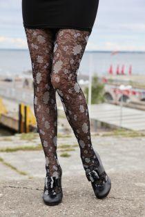 NOA 50DEN black tights with floral pattern | BestSockDrawer.com