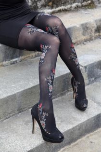 SIMONA 60DEN black tights with floral pattern | BestSockDrawer.com