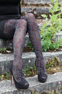 MORENA 60DEN black tights with floral pattern | BestSockDrawer.com