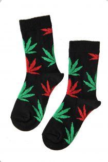 KANEP children's cotton socks with multicoloured hemp leaves | BestSockDrawer.com