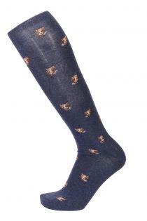 KASPAR blue cotton knee-highs for men | BestSockDrawer.com