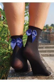 KATJA microfiber socks with a bow, black | BestSockDrawer.com