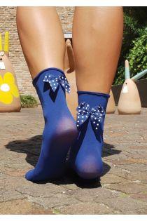 KATJA microfiber socks with a bow, blue | BestSockDrawer.com