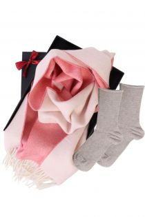 Alpaca wool two sided scarf and ANNI socks gift box for women | BestSockDrawer.com