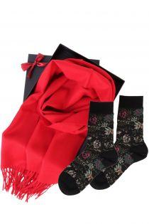 Alpaca wool scarf and MIINA black socks gift box for women | BestSockDrawer.com