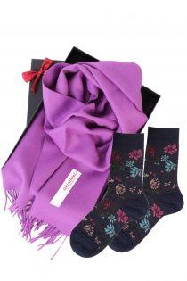 Alpaca wool scarf and MIINA blue socks gift box for women | BestSockDrawer.com