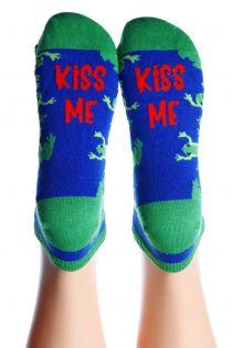 KISS ME blue cotton socks | BestSockDrawer.com