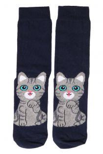 KITTY blue cotton socks for cat lovers | BestSockDrawer.com