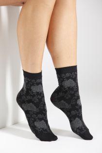 KLAARA 60DEN grey floral pattern socks | BestSockDrawer.com