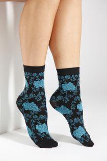 KLAARA 60DEN blue floral pattern socks | BestSockDrawer.com