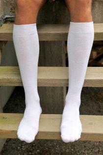 KRISS white cotton knee highs for men | BestSockDrawer.com