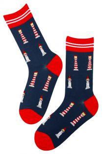 LIGHTHOUSE dark blue cotton socks | BestSockDrawer.com