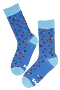 LOVE RULES blue men's funny socks | BestSockDrawer.com