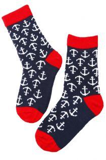 MARINE dark blue viscose socks for children | BestSockDrawer.com