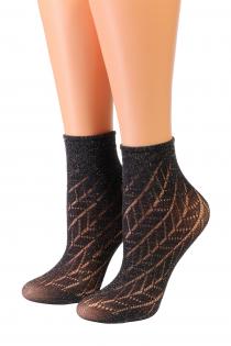 Oroblu METAL black sparkling socks | BestSockDrawer.com