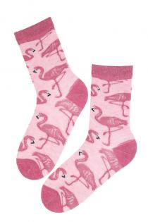 MIAMI angora wool socks with flamingos | BestSockDrawer.com