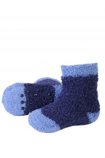 MIKK cozy dark blue home socks for babies | BestSockDrawer.com