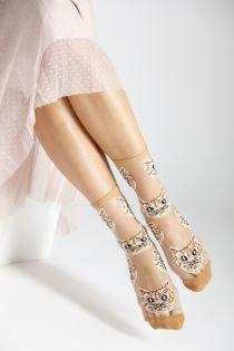 MOONA light brown sheer socks with cats   BestSockDrawer.com