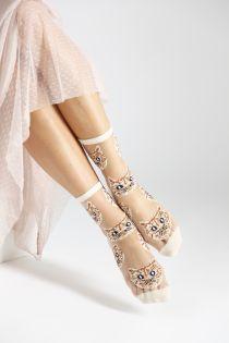 MOONA beige sheer socks with cats   BestSockDrawer.com