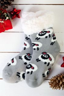 NIILO cute grey anti-slip home socks for kids | BestSockDrawer.com