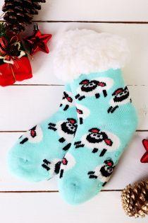NIILO cute mint anti-slip home socks for kids | BestSockDrawer.com