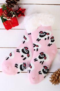 NIILO cute light pink anti-slip home socks for kids | BestSockDrawer.com