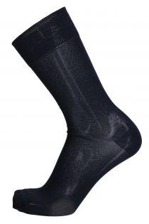 OLIVER dark blue dress socks with red stripe for men | BestSockDrawer.com